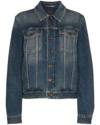 Saint Laurent - Denim Jacket With Rear Logo Print - Lyst