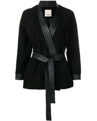 Pinko - Belted Leather Jacket - Lyst