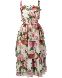 88953903f67f Dolce & Gabbana Lemon Printed Viscose Cady Dress in Yellow - Lyst