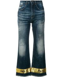 Dolce & Gabbana Sequin Trimmed Cropped Flare Jeans