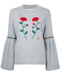 MUVEIL - Flower Appliqué Sweatshirt - Lyst