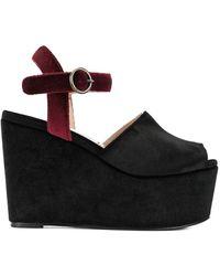 Tu Es Mon Tresor Velour Platform Sandals - Black
