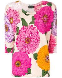 Twin Set - Floral Fitted Sweater - Lyst