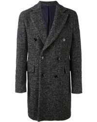 Mp Massimo Piombo - Herringbone Double-breasted Coat - Lyst
