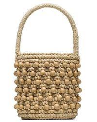 Sensi Studio - Beige Mini Woven Bucket Bag - Lyst