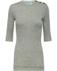 Prada - Ribbed Knit Top - Lyst