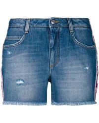 Ermanno Scervino - Floral Applique Side Stripe Denim Shorts - Lyst