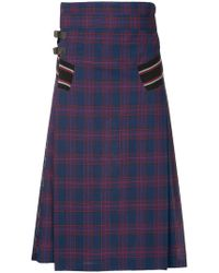 Facetasm - Checked Midi Skirt - Lyst