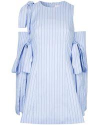 Strateas Carlucci - Striped Cold Shoulder Dress - Lyst