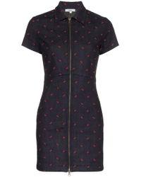 91b278ec8da5f Miaou - Serena Short-sleeved Fitted Cotton Blue Dress - Lyst