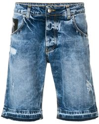 John Richmond - Distressed Denim Shorts - Lyst