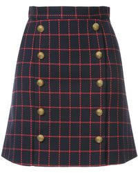Macgraw - High-waisted Checked Skirt - Lyst