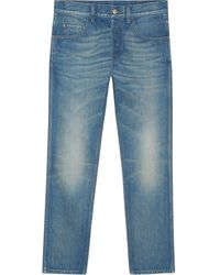 Gucci - Denim Tapered Pant With Tiger - Lyst
