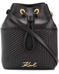 Karl Lagerfeld - K/signature Quilted Bucket Bag - Lyst
