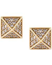 Sarah Noor - Mini 'pyramid' Diamond Stud Earrings - Lyst