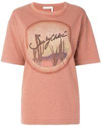 See By Chloé - Oversized Desert Logo T-shirt - Lyst