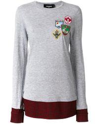 DSquared² - Flannel-panelled Sweatshirt - Lyst