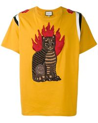Gucci - Flame Tabby Cat Motif T-shirt - Lyst