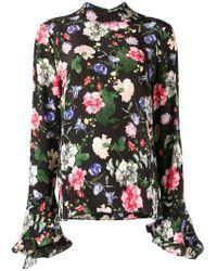Erdem - Lindsey Ruffle Sleeve Floral Blouse - Lyst