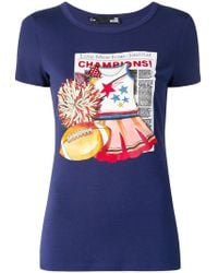 Love Moschino - Newspaper Print T-shirt - Lyst