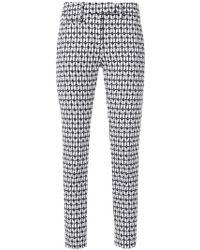 print slim fit cropped trousers - Black Dondup 0x74P5uG7