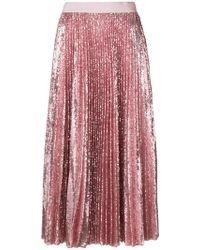 MSGM - Pleated Sequin Midi Skirt - Lyst