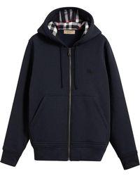 Burberry - Check Detail Hooded Sweatshirt - Lyst