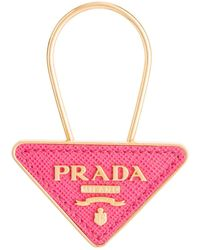 Prada Saffiano Leather And Metal Keychain - Pink