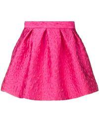 P.A.R.O.S.H. - Leopard Cloqué Pleated Skirt - Lyst