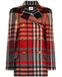 Khaite - Tartan Cashmere And Wool Double-breasted Coat - Lyst