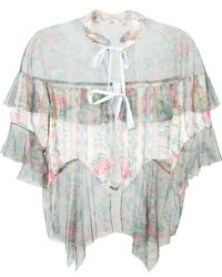 Anna Sui - Sheer Floral Tulle Hem Blouse - Lyst