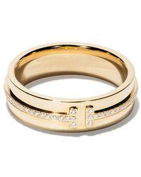 Tiffany & Co. - 18kt Yellow Gold Tiffany T Two Diamond Narrow Ring - Lyst