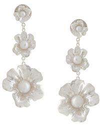 Meadowlark - Coral Pearl Drop Earrings - Lyst