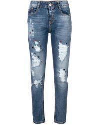 Blugirl Blumarine - Distressed Embellished Jeans - Lyst