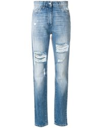 Moschino - Distressed Denim Trousers - Lyst