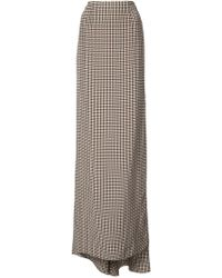 Vera Wang - Checked Side Slit Skirt - Lyst