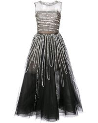 Oscar de la Renta - Sleeveless Sequin Embroidered Gown - Lyst