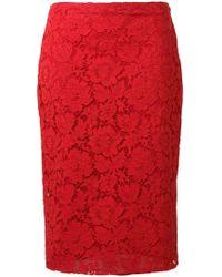 Valentino - Falda de tubo con encaje - Lyst