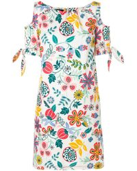 Talbot Runhof - Floral Cold Shoulder Dress - Lyst