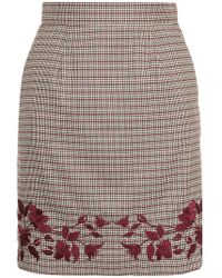 Loveless - Embroidered Dogtooth Skirt - Lyst