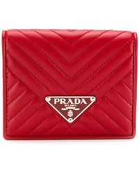 bf27a54449af0b Lyst - Prada Diagramme French Wallet in Pink