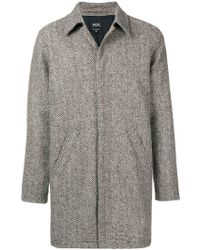 A.P.C. - Textured Single Breasted Coat - Lyst