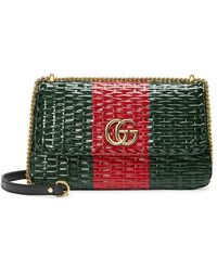 Gucci - Green And Red Web Straw Small Shoulder Bag - Lyst