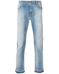 7 For All Mankind - Distressed Slim Fit Jeans - Lyst