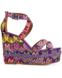 Missoni - Embroidered Wedged Sandals - Lyst