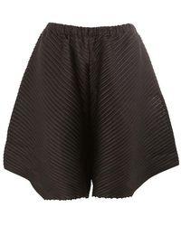 Pleats Please Issey Miyake - Embossed Pleats Asymmetric Shorts - Lyst