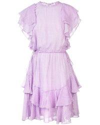 Lela Rose - Plaid Ruffle Trim Dress - Lyst