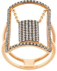 Diane Kordas crystal embellished net pattern ring - Metallic brmnNShT9Z