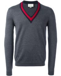 Gucci - Web Trim V-neck Jumper - Lyst