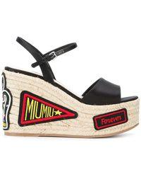 Miu Miu - Patch-work Wedge Sandals - Lyst